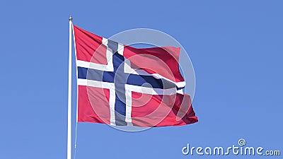Flatternde norwegische Flagge stock footage