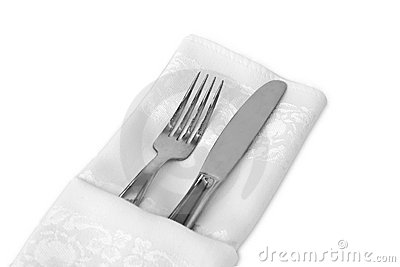 Flatware and White Linen Napkin