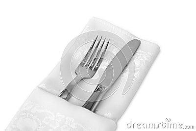 Flatware and White Linen Napkin