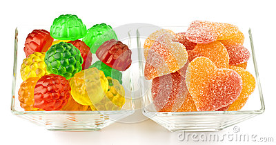 Flavored gummy hearts