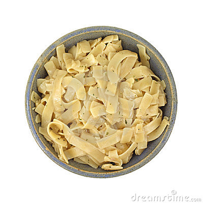 Flavored pasta noodles in bowl