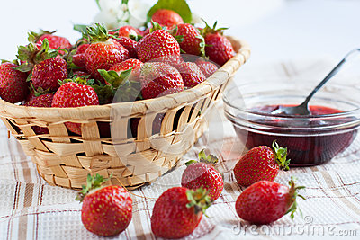 Flavorful strawberries and jam in a bowl