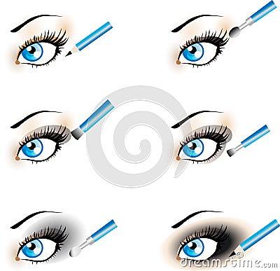 Flawless Eye Makeup icons.Black Shadow , Smoky.