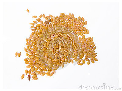 Flax seeds isolated in white