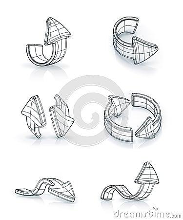 Flèches réglées, dessinant