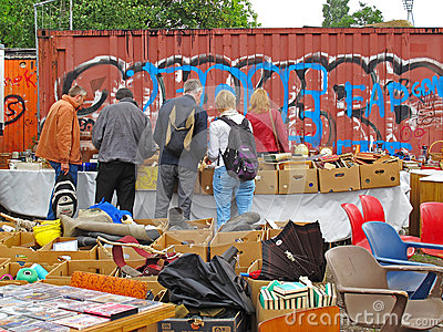 Flea market Mauerpark, Berlin Editorial Stock Photo