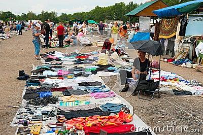 Flea market in Moscow Editorial Stock Photo