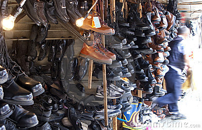 Flea market shoe shop
