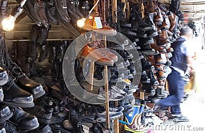 Flea market shoe shop