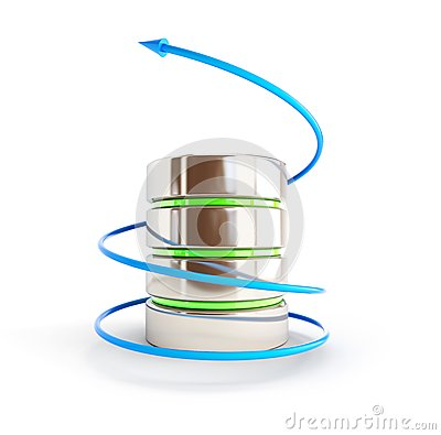 Flecha de la base de datos en un espiral
