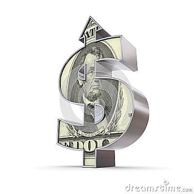 Flecha del símbolo del dólar para arriba - Dólar-Textured