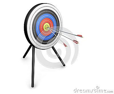 Flechas que golpean la blanco