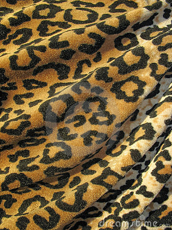 Fleecy brown draped leopard skin fabric