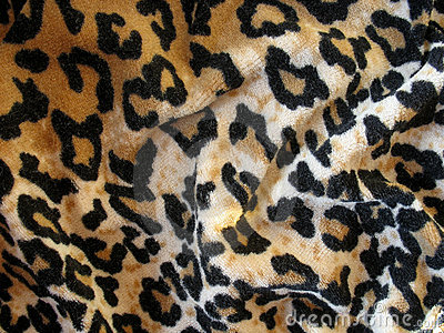 Fleecy brown leopard skin fabric (velor))