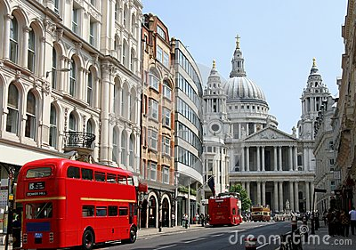 Fleet Street and St. Paul s Cathedral Editorial Photo