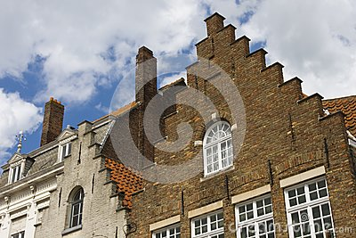 Flemish houses facades in Brugge.