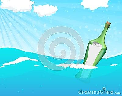 Fles met hulpbericht