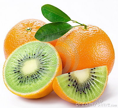 Flesh kiwi cut ripe orange.