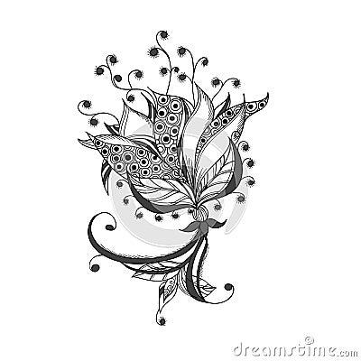 fleur d 39 imagination mod le noir et blanc de tatouage photo libre de droits image 29764335. Black Bedroom Furniture Sets. Home Design Ideas