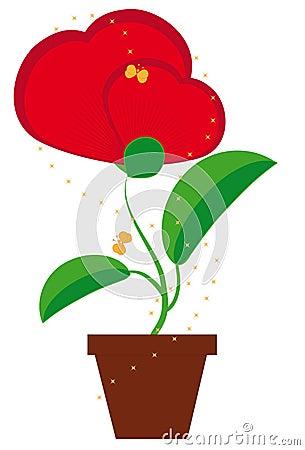 Fleur dans un en forme de coeur