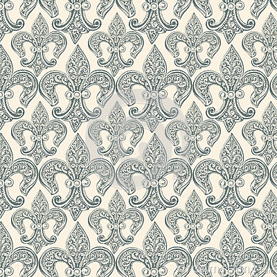 Free Fleur-de-lis Black Repeat Seamless Pattern Stock Photography - 59847672