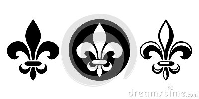 Fleur-de-lis. Set of black silhouettes of lily flowers. Vector illustration. Vector Illustration