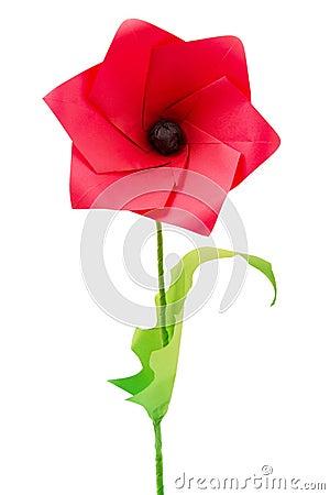 fleur de pavot d 39 origami photos stock image 31570563. Black Bedroom Furniture Sets. Home Design Ideas