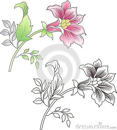 Fleur rose et tracée les grandes lignes, fond floral