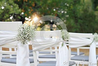 Fleurs Blanches D Coration Ext Rieure Chic Rustique De Mariage D Automne De Chaise