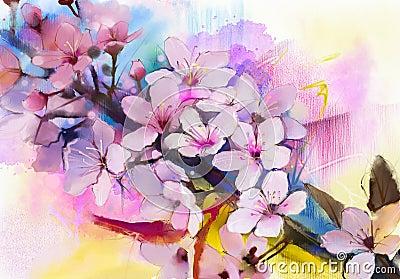 fleurs de cerisier de peinture d 39 aquarelle cerise japonaise sakura rose illustration stock. Black Bedroom Furniture Sets. Home Design Ideas