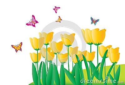 Fleurs et butterfliesr (avec le fichier d AI)