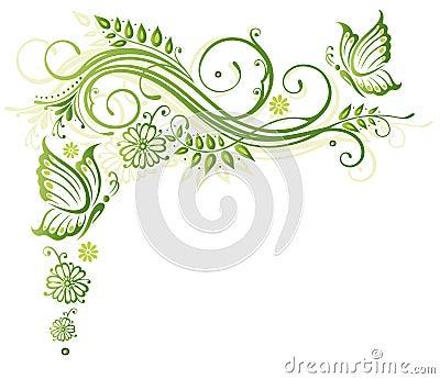 Fleurs, ressort, papillons