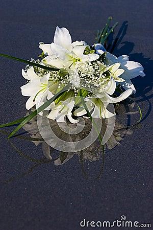 Fleurs sur le sable humide