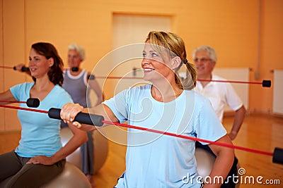 Flexibar exercises in a gym