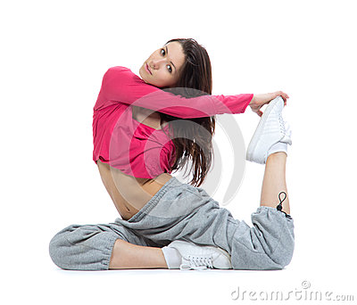 Flexible dancer doing stretching exercise
