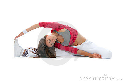 Flexible dancer woman sit on twine