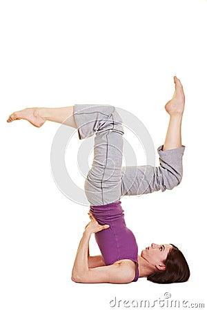 Flexible woman doing aerobics