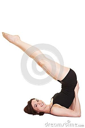 Flexible woman doing back exercises