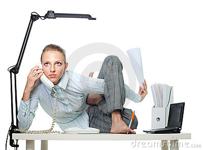 Flexible woman in office