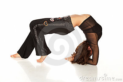 Flexible woman stretching and doing back-bend