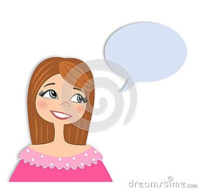 Flicka i konversationtecknad filmtecken
