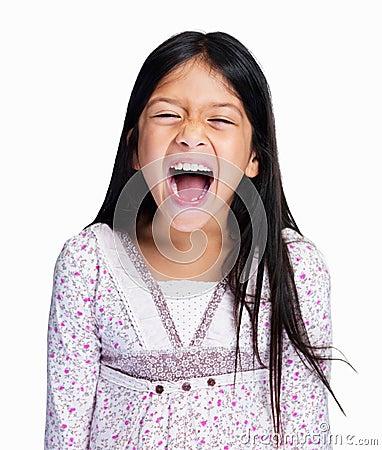 Flicka little som skriker