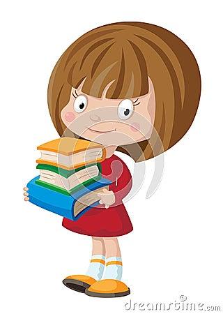 Flicka med böcker
