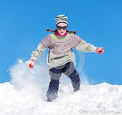 Flicka i snowen