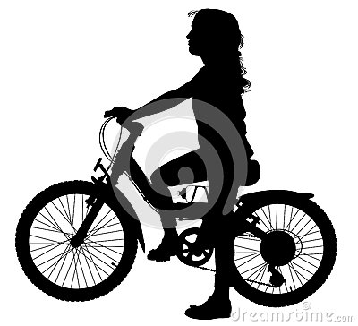 Flicka på cykeln