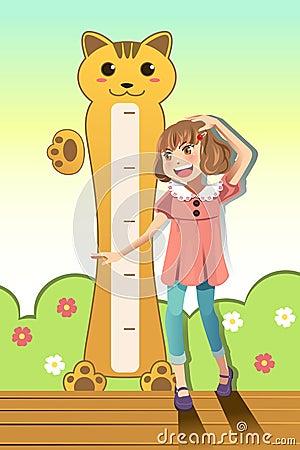 Flicka som mäter henne höjd