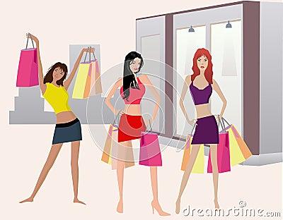 Flickaillustt som shoping