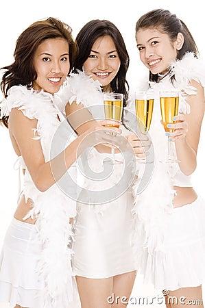 Flickor för 1 champagne