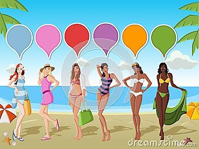 Flickor på tropisk strand