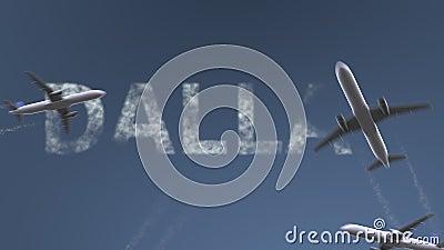 Fliegenflugzeuge decken Dallas-Titel auf Reisen zur Begriffsintroanimation Vereinigter Staaten stock video